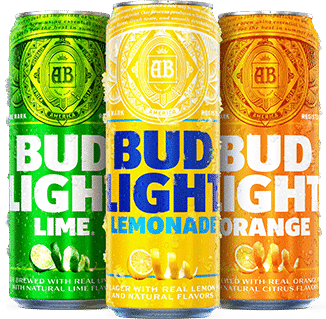 Cans of Bud Light Lime, Bud Light Lemonade & Bud Light Orange Beer