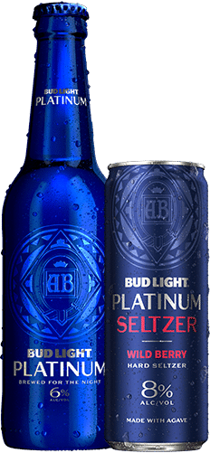 Bottle and can of Bud Light Platinum Beer and Seltzer