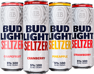 Cans of Bud Light Seltzer: Grapefruit, Cranberry, Pineapple & Strawberry Hard Seltzer
