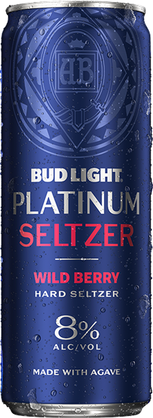 Bottle of Bud Light Platinum Wild Berry Seltzer
